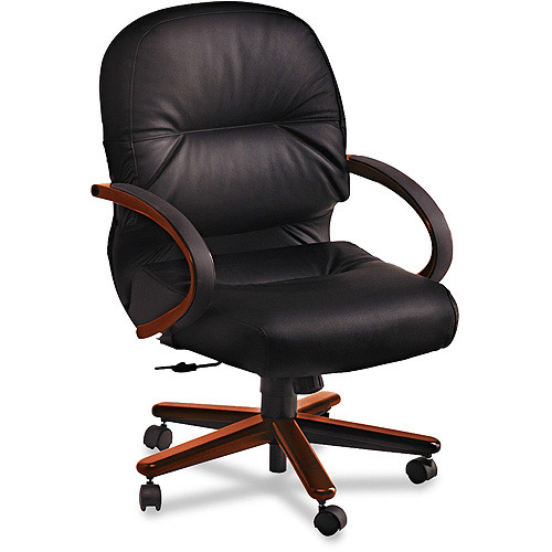 HON 2190 Pillow-Soft Wood Series Mid-Back Chair, Mahogany/Black Leather