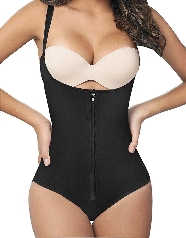 Women/'s Seamless Firm Control Shapewear Open Bust Bodysuit Body Shaper Black
