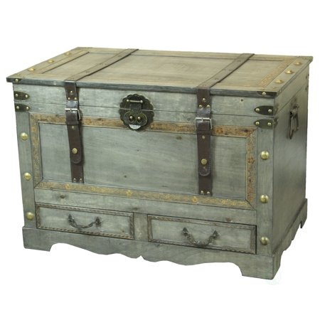 Rustic Gray Large Wooden Storage Trunk Coffee Table with Two Drawers ()
