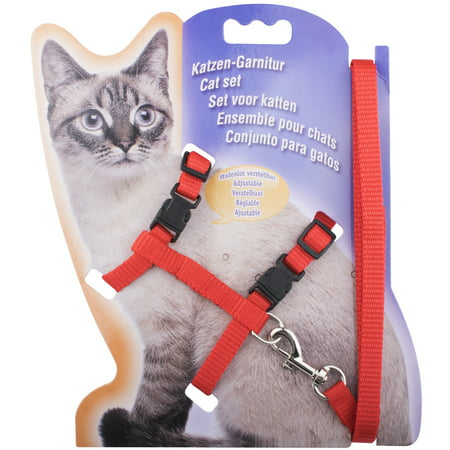 Cat Harness, Adjustable Design Nylon Strap Collar with Leash, breakaway cat harness For Small/Adult Cat Dog and Pet outdoor Walking, Red