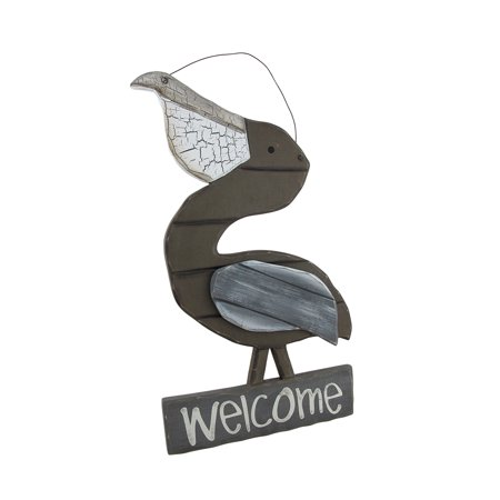 Weathered Slatted Wood Pelican Coastal Welcome Sign Wall Decor 16.75 Inch - Grass Wall Slat