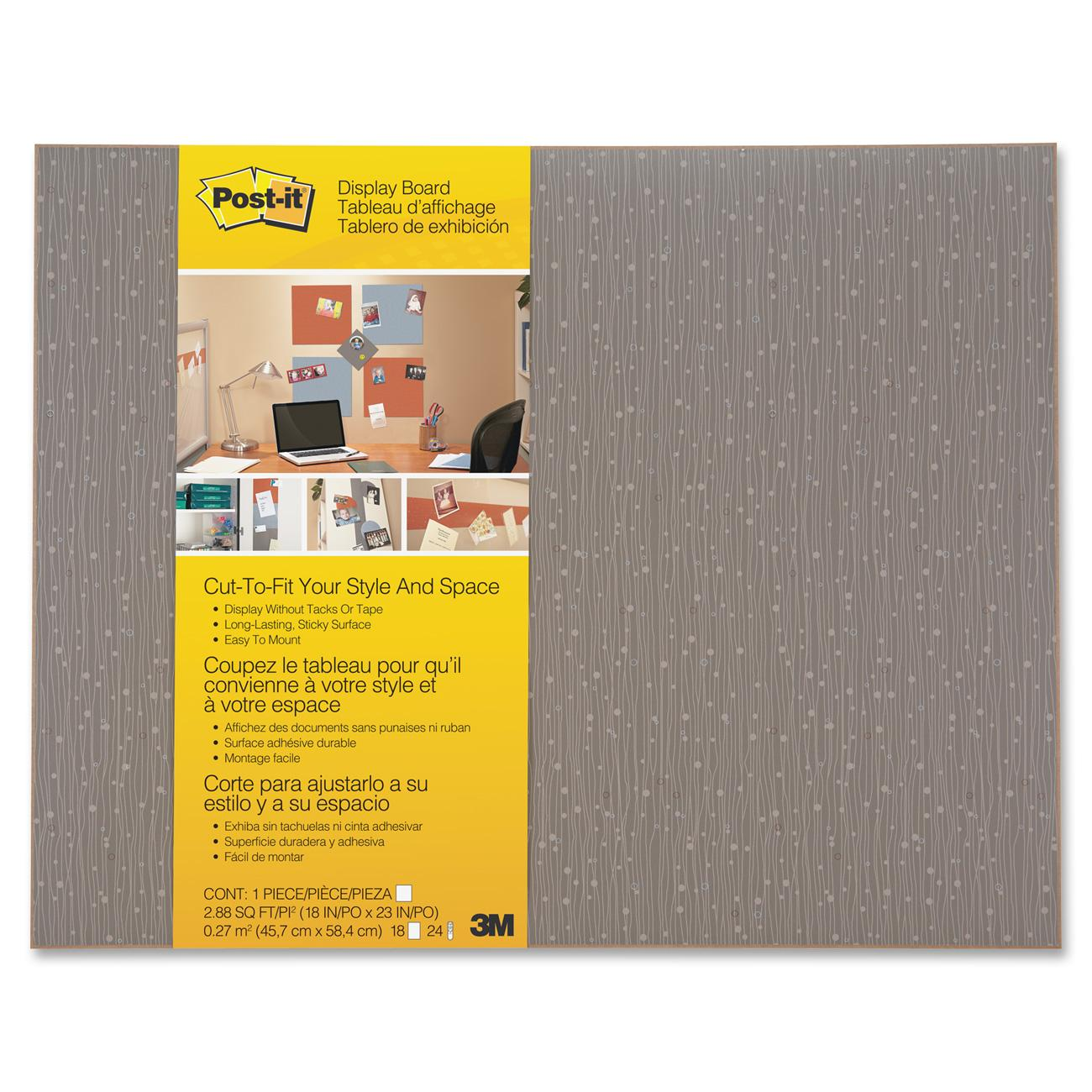 "Post-it Cut-to-Fit Display Boards, 24"" x 18"", Mocha, Command Strips Included"