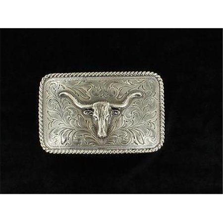 M&F Western Products 37524 Mens Rectangle Rope Edge Longhorn Buckle - Antique Silver - image 1 de 1