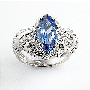 5.25ct Marquise Cut Sapphire-Blue and White CZ Rhodium Plated Sterling Silver Cocktail Ring (Sapphire Rhodium Plated)