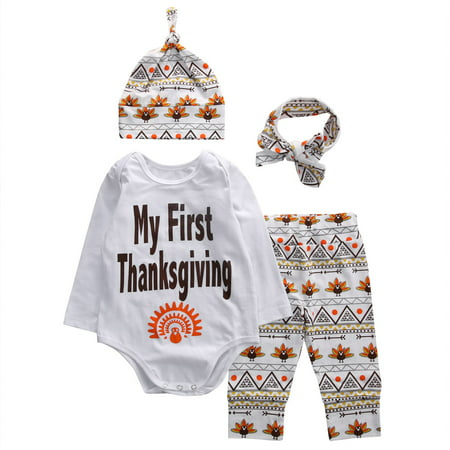 Newborn Infant Baby Boys Girls Long Sleeve T-shirt Tops+Long Pants+Hat Outfit Clothes Thanksgiving Set (Infant Baby Boys Long Sleeved)