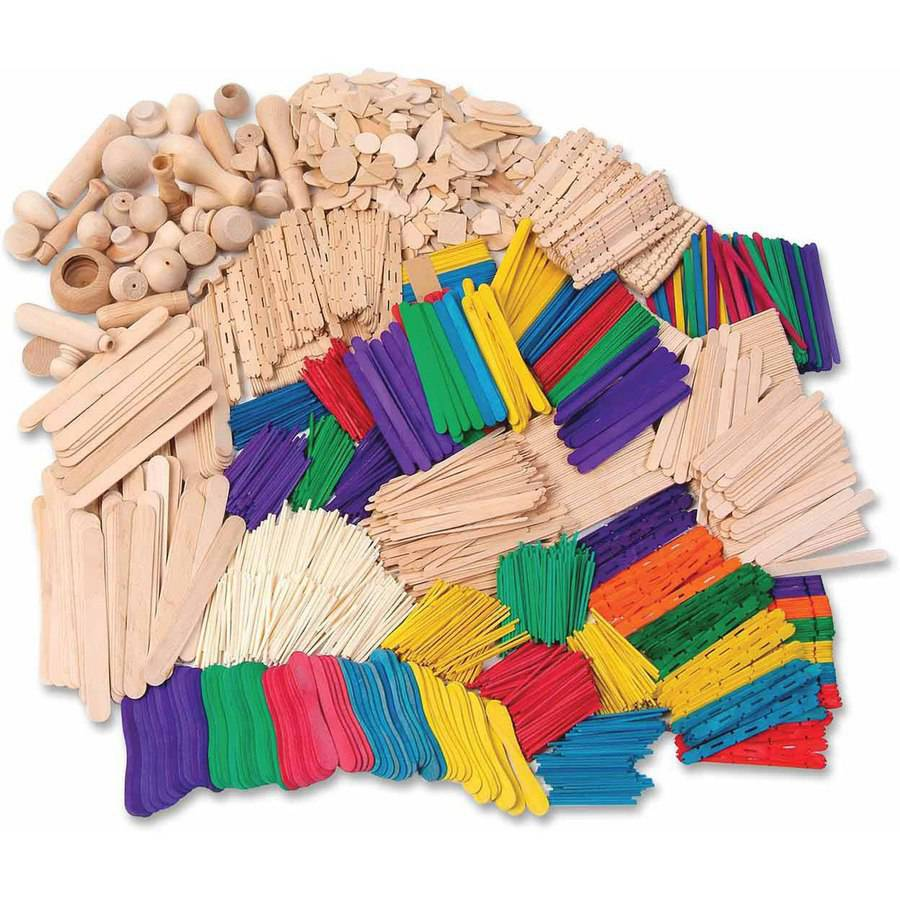Chenille Kraft Wood Craft Activity Kit with Guide Book, Assorted Sizes, Assorted Colors, Pack of 2100