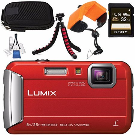 Panasonic Lumix DMC-TS30 Digital Camera (Red) DMCTS30R + Sony 32GB SDHC Card + Small Carrying Case + Waterproof Floating Strap + Flexible Tripod + Deluxe Cleaning Kit