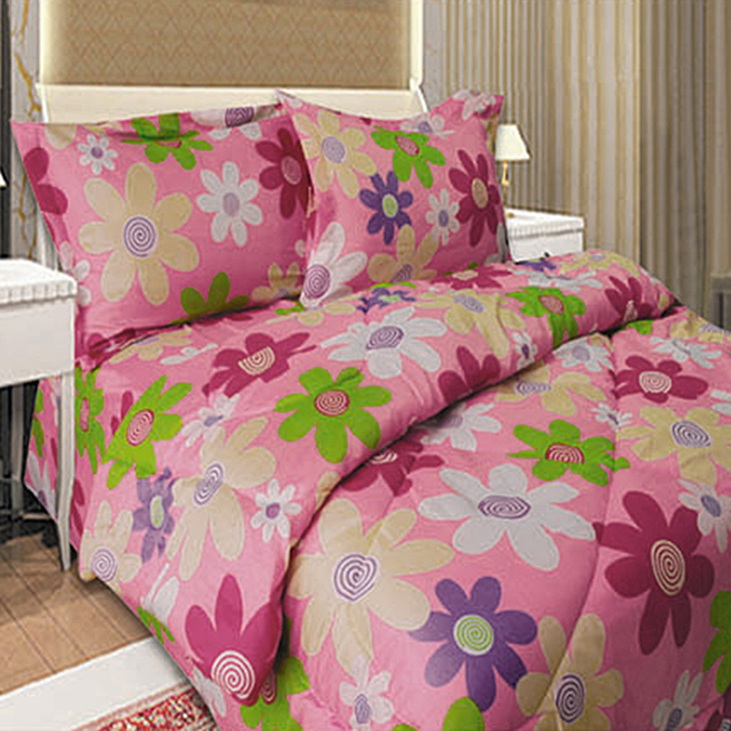Multicolored Daisy Microfiber Twin Size Pink Comforter and Pillow Shams