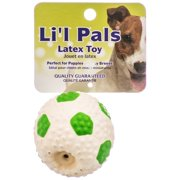 Coastal Pet Products-Li'l Pals Latex Soccerball Dog Toy- Green/white 2 In
