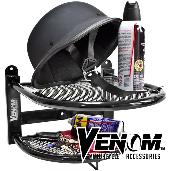 Venom® Wall Mounted Motorcycle Helmet, Gloves, and Jacket Shelf - Gear and Tool Storage For Harley Davidson Yamaha Honda Kawasaki Suzuki Ducati BMW Sport Streetbike Cruiser Bike Touring Motorcycle