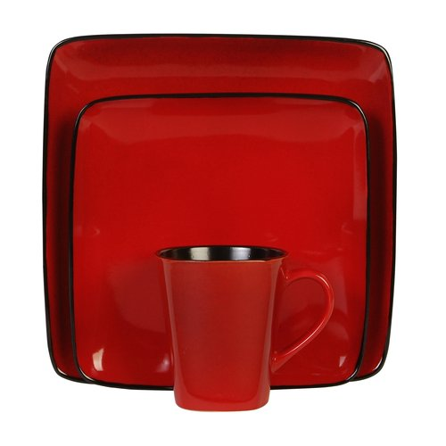Hometrends Rave Square 16pc Dinnerware Set, Red