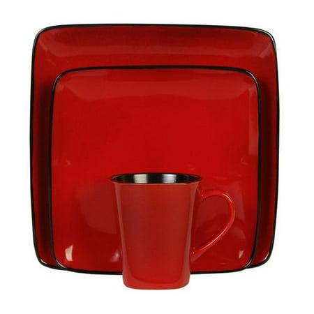 0ea7685fe9de6 Better Homes   Gardens Rave Square Red Dinnerware Set