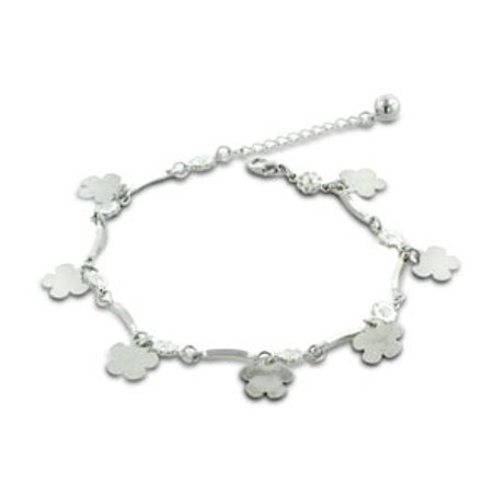 - Dangle Flower and Jingle Bell Charm Bracelet Anklet. Crafted in Copper and Zinc.