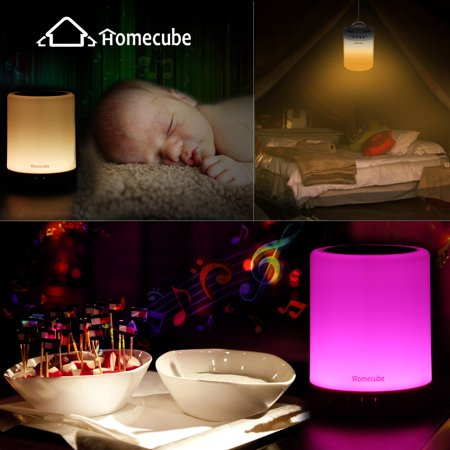 Night Light Bluetooth Speaker, Portable Wireless Bluetooth Speakers with Touch Control 7 Color LED Table Light and Speakerphone/TF Card/AUX-in Supported - image 7 of 13