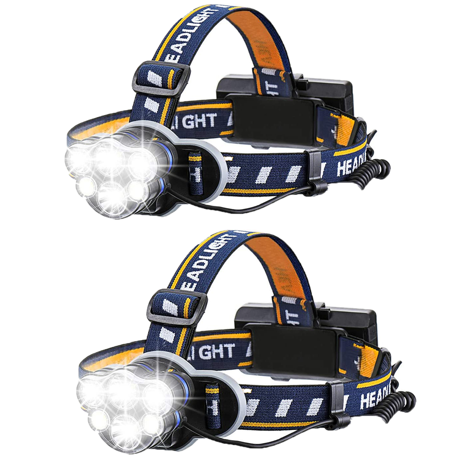 USB Rechargeable Headlamp Flashlight Hands Free Head Band Outdoor Lamp LED b