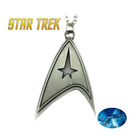 Star Trek Necklace Pendant - Brushed Silver Badge - TV Series Show Cosplay Jewelry by Superheroes - Badge Necklaces