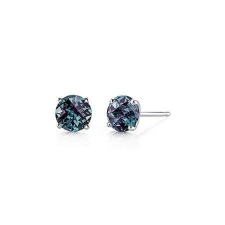 4 Cttw Alexandrite Round Stud Earrings In 18k Gold
