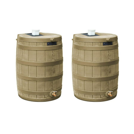 Image of Good Ideas Rain Wizard 50 Gallon Rain Barrel Water Collector, Khaki (2 Pack)