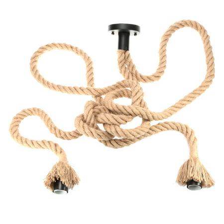 Lixada 250cm AC110V E26/E27 Double Head Vintage Hemp Rope Hanging Pendant Ceiling Light Lamp Industrial Retro Country Style Dining Hall Restaurant Bar Cafe Lighting Use - image 6 of 7