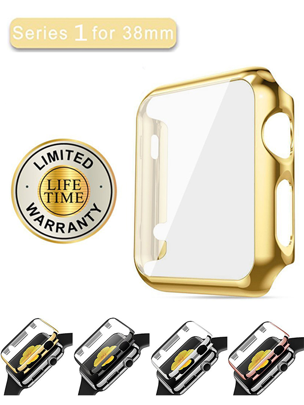 iClover Apple Watch 38mm Series 1 Screen Protector Case Ultra-Slim Electroplate Metal Plated Hard Cover with Full Coverage Tempered Glass Screen Protector Cover for Apple Watch 38mm,Gold
