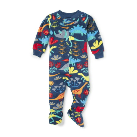 Dinasour Onesie (Long Sleeve Dino Print Footed Blanket Sleeper (Baby Boys & Toddler)