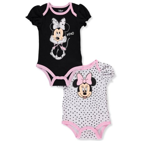 Disney Minnie Mouse Baby Girls' 2-Pack Bodysuits (Minnie Mouse Baby Accessories)