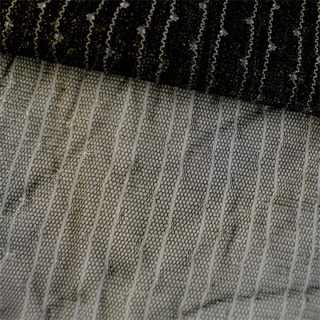 Black Sparkle Pinstripe Dot Embroidered Mesh, Fabric By the Yard