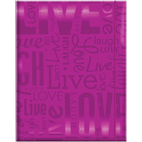 "Embossed Gloss Expressions 100-Pocket Photo Album, 4.75"" x 6.5"", Live, Love and Laugh, Bright Purple"