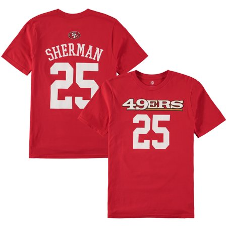 separation shoes 67494 7e253 Richard Sherman San Francisco 49ers Youth Mainliner Name & Number T-Shirt -  Scarlet