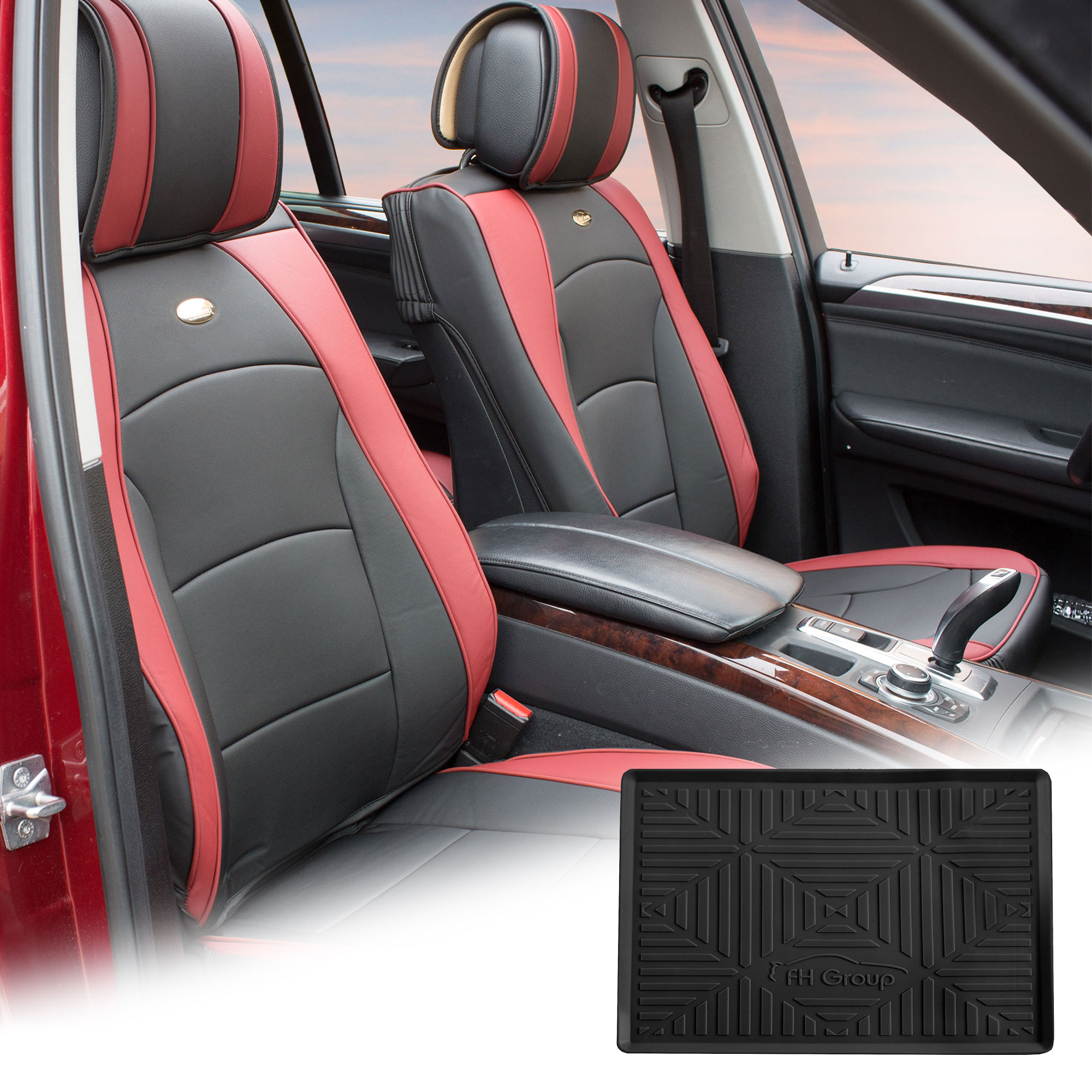 FH Group Burgundy Black PU Leather Front Bucket Seat Cushion Covers for Auto Car SUV Truck Van with Black Dash Mat Combo