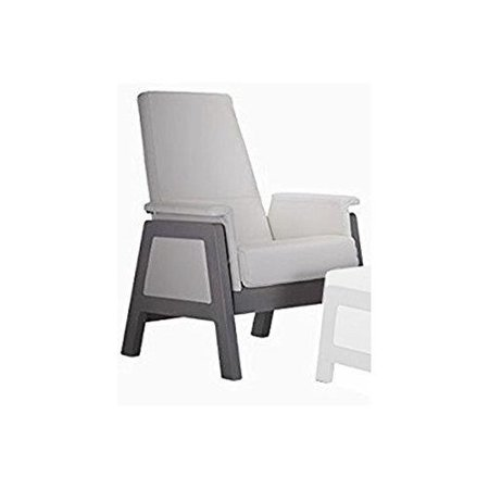 Magnificent Dutailier Urban Glider 733 Grey Wood 85 With White Leather 0656 No Matching Ottoman Grey Wood 85 With White Leather 0656 Andrewgaddart Wooden Chair Designs For Living Room Andrewgaddartcom