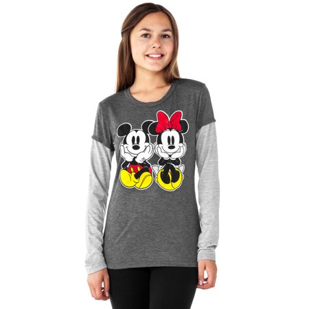 Juniors Mickey & Minnie Mouse Long Sleeve Shirt Charcoal Gray for $<!---->
