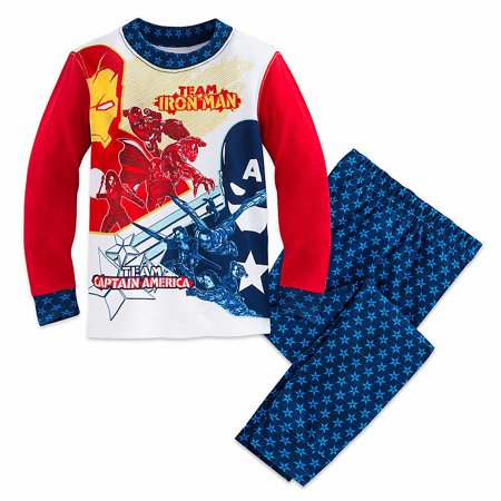 Disney Store Captain America Iron Man 2PC Long Sleeve Tight Fit Pajama Set Boy 5