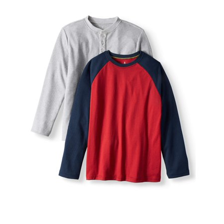 Long Sleeve Soft Mini Waffle Henley and Crew Neck Tee Shirt 2 Pack (Little Boys & Big Boys) (Colonial Boy Clothing)
