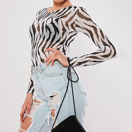 Zebra Triangle Top - Women Zebra Print Transparent Mesh Sheer Crop Top T-Shirt Blouse Tee Tops