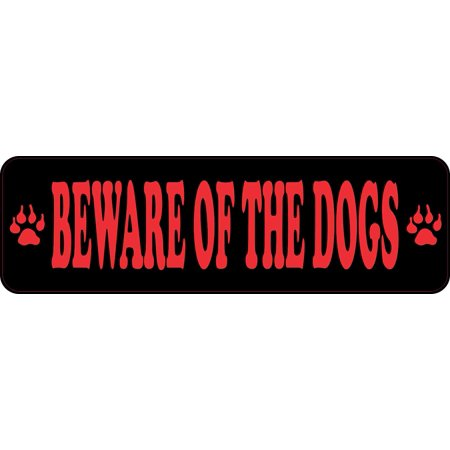 10x3 Black And Red Beware Of The Dogs Sticker Vinyl Stickers Caution Sign