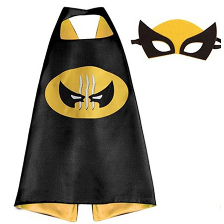 Marvel Comics Costume - Wolverine Logo Cape and Mask with Gift Box by Superheroes](Wolverine Costume Claws Kids)
