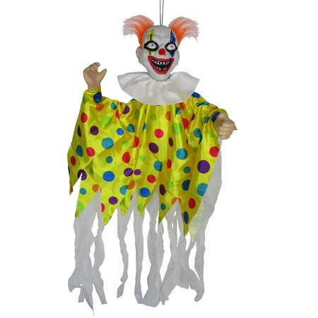 Animated Scary Clown Creepy Halloween Light Up Hanging Decor Haunted House Prop