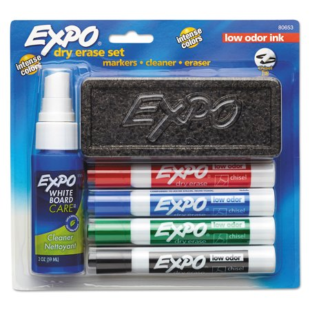 Dry Erase Material (EXPO Dry Erase Marker Starter Set, Chisel Tip, Assorted, Whiteboard Eraser, Cleaning Spray, 6)