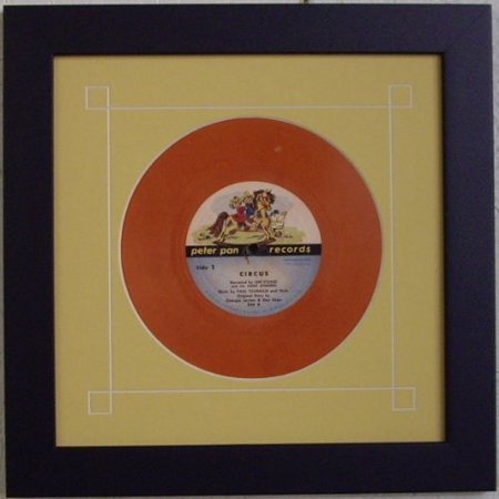 """45 Single (6 7/8"""") Vinyl-Record Frame Featuring Yellow Mat Design and Solid Wood Matte Black Frame"""