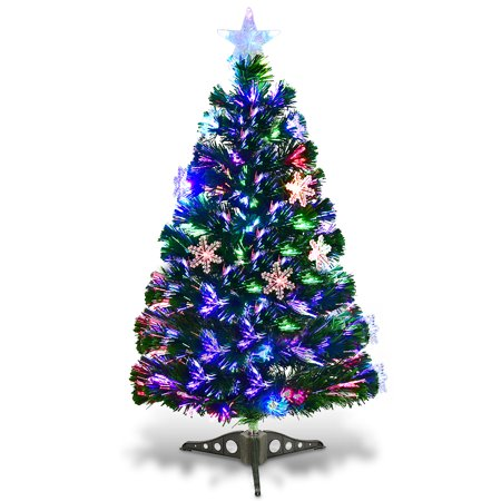 Costway 3FT Pre-Lit Fiber Optic Christmas Tree Multicolor Lights ()