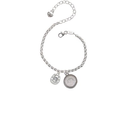 Small Clear Crystal Horseshoe Nevertheless She Persisted Engraved Bracelet