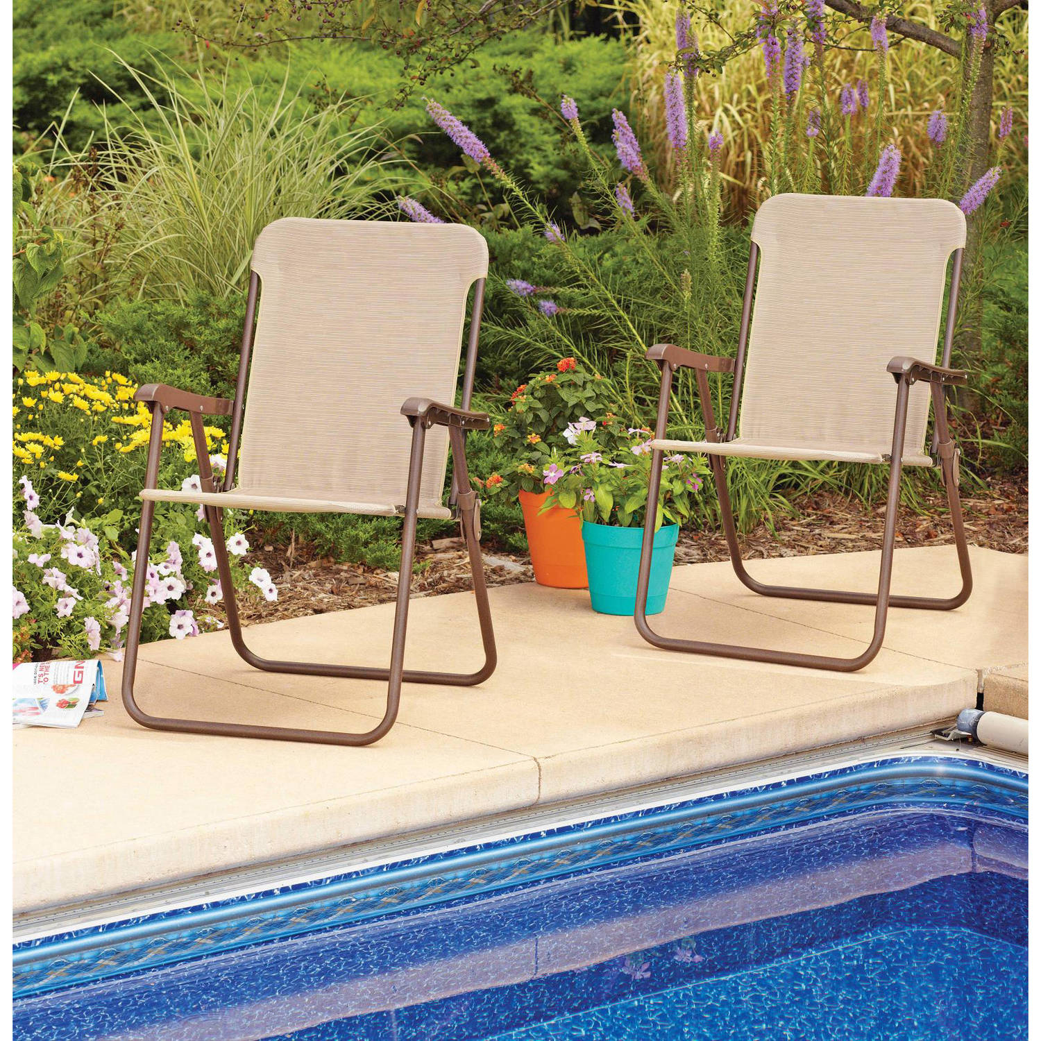 Mainstays Folding Chairs, Set of 2, Multiple Colors