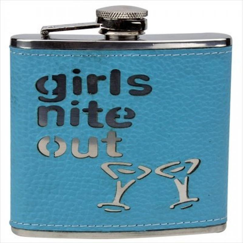 FJX Wholesale HFL-W036 6oz Blue Girls Night Out Stainless Steel Hip Flask
