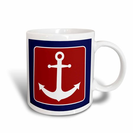 3dRose Red White and Blue Nautical Anchor Design, Ceramic Mug, (Indigo Blue Ceramic Mug)