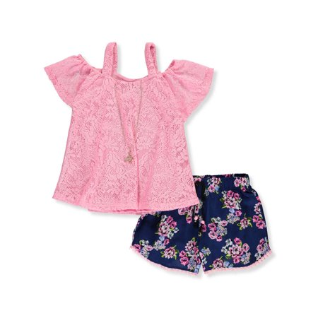 RMLA Girls' 2-Piece Shorts Set Outfit with Necklace - Roaring 20 Outfits