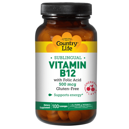 Country Life Buffered Vitamin - Sublingual Vitamin B-12 500 mcg by Country Life 100 Lozenges