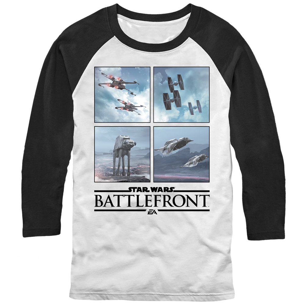 Star Wars Battlefront Rebel Alliance vs Empire Mens Graphic Baseball Tee