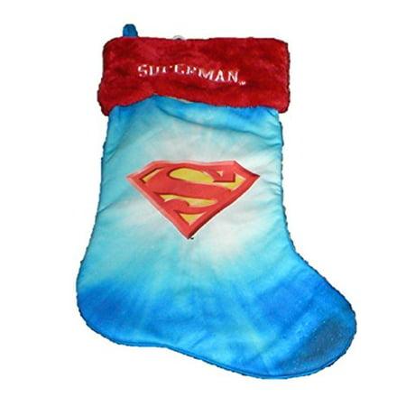 Superheroes Batman Superman Large Holiday Christmas Stocking (Superman - S Emblem) (Batman Christmas)