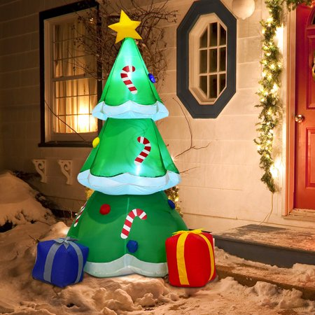 Costway 6' Inflatable Decoration Christmas Tree with Gift Boxes Blow Up Lighted Outdoor](Thanksgiving Blow Ups)